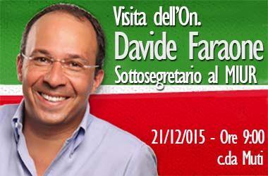 Visita dell'On. Davide Faraone, Sottosegretario di Stato alla Pubblica Istruzione